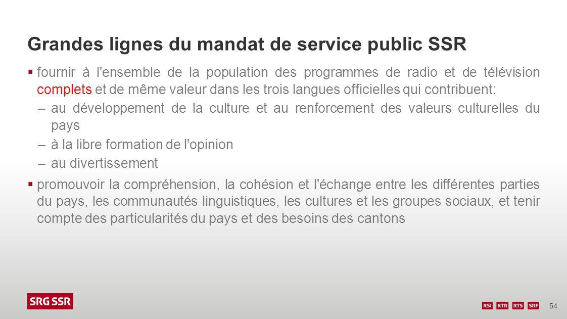 54 Grandes lignes du mandat de service public SSR fournir à l'ensemble de la population des programmes de radio et de télévision complets et de même v
