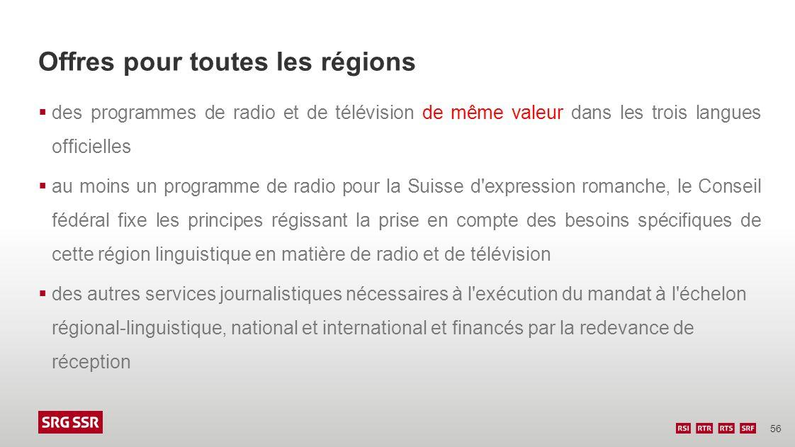 56 Offres pour toutes les régions des programmes de radio et de télévision de même valeur dans les trois langues officielles au moins un programme de