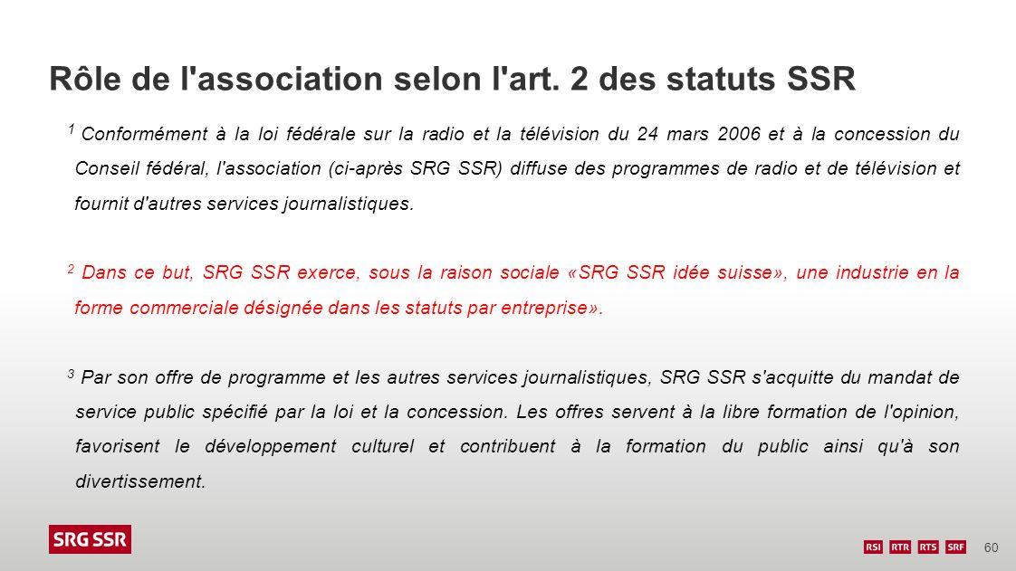 60 Rôle de l'association selon l'art. 2 des statuts SSR 1 Conformément à la loi fédérale sur la radio et la télévision du 24 mars 2006 et à la concess