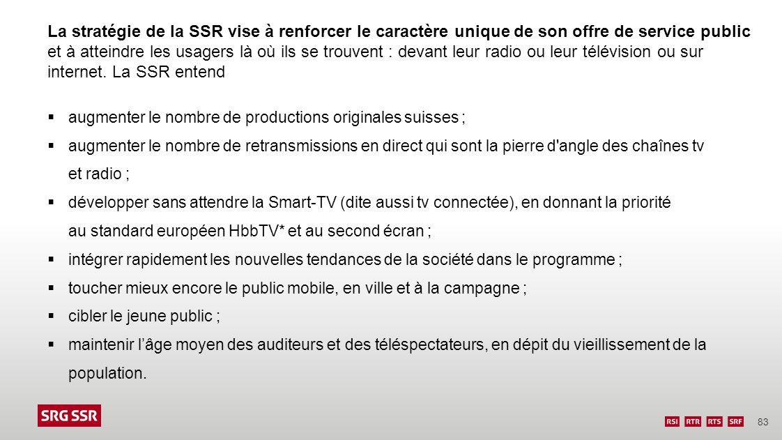 83 La stratégie de la SSR vise à renforcer le caractère unique de son offre de service public et à atteindre les usagers là où ils se trouvent : devan