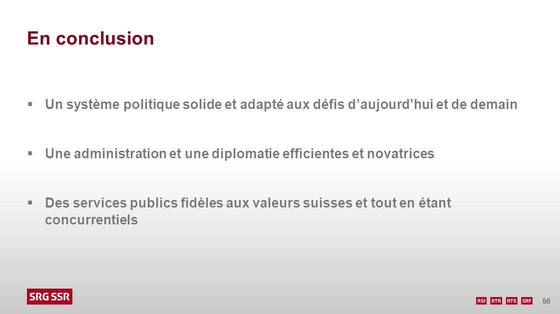 86 En conclusion Un système politique solide et adapté aux défis daujourdhui et de demain Une administration et une diplomatie efficientes et novatric