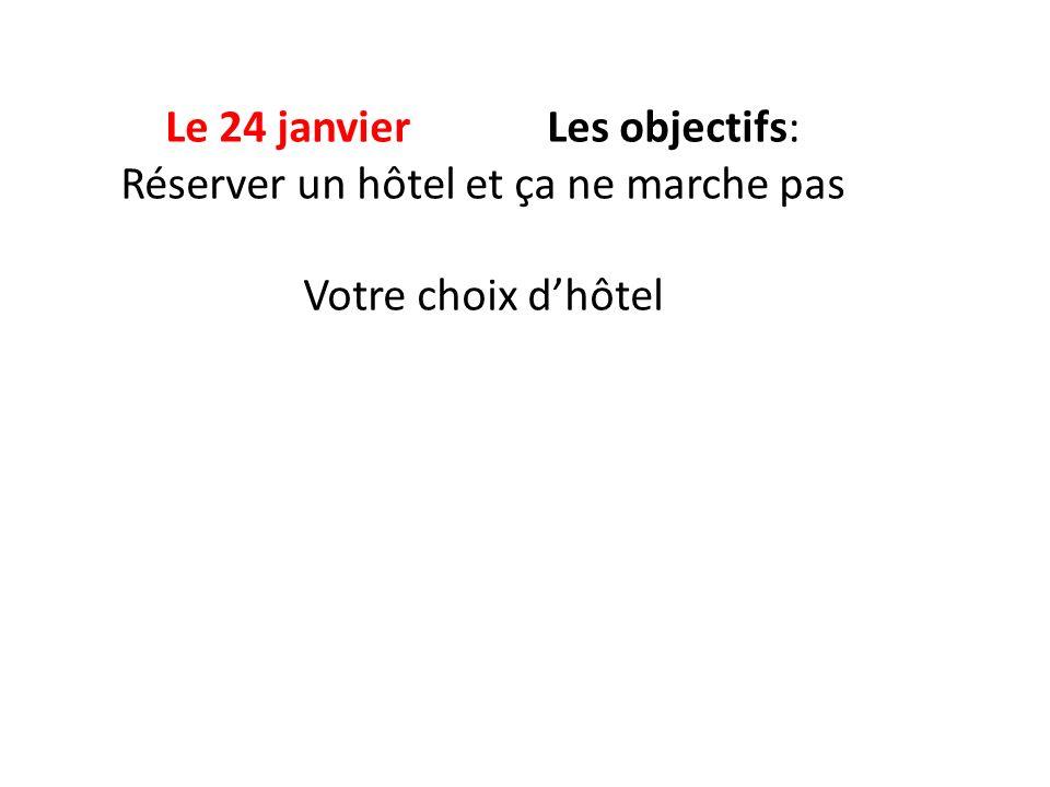 Le 24 janvier Les objectifs: Réserver un hôtel et ça ne marche pas Votre choix dhôtel