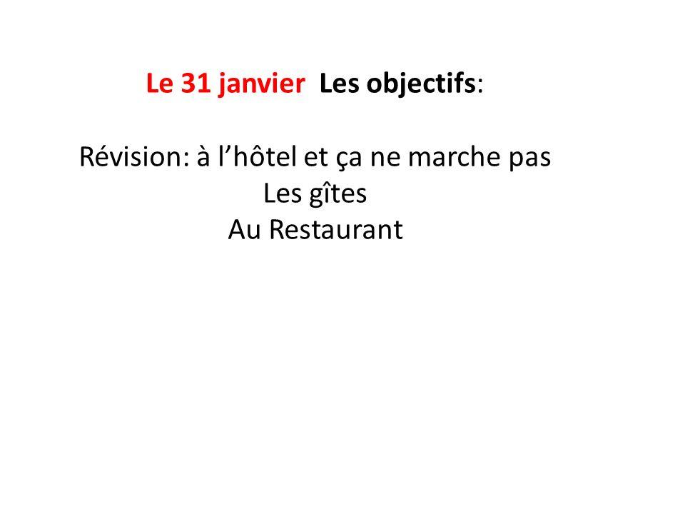 Le 31 janvier Les objectifs: Révision: à lhôtel et ça ne marche pas Les gîtes Au Restaurant