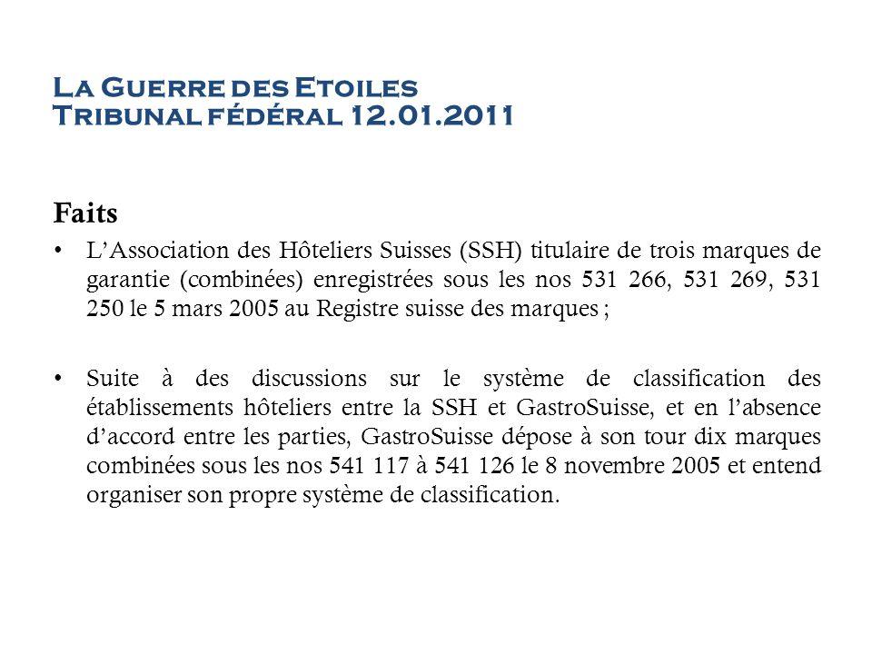 La Guerre des Etoiles Tribunal fédéral 12.01.2011 Faits LAssociation des Hôteliers Suisses (SSH) titulaire de trois marques de garantie (combinées) en