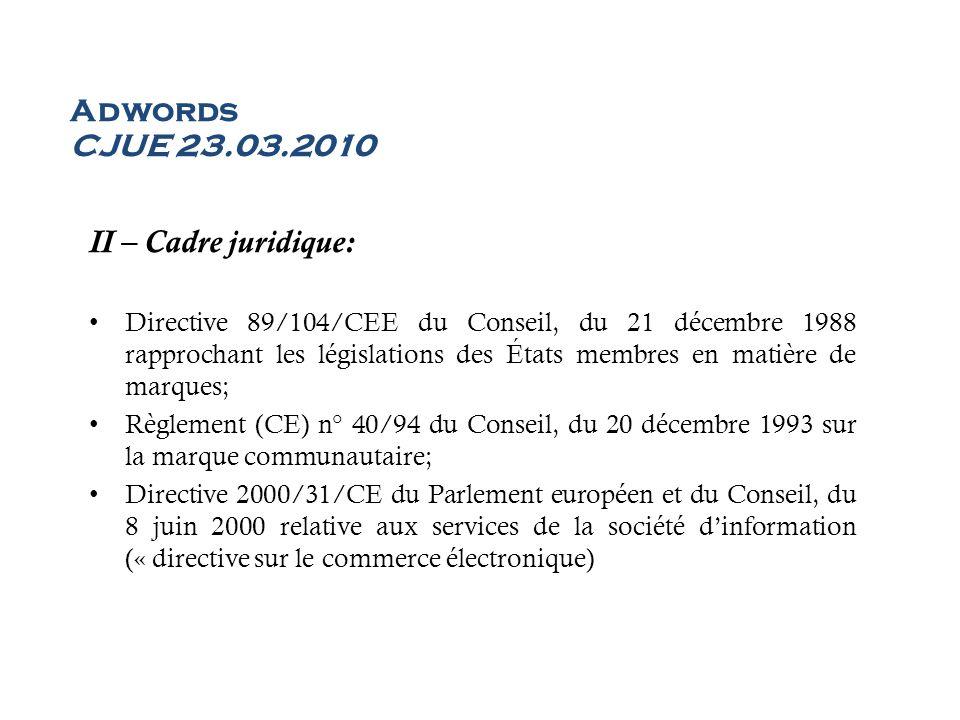 Adwords CJUE 23.03.2010 II – Cadre juridique: Directive 89/104/CEE du Conseil, du 21 décembre 1988 rapprochant les législations des États membres en m
