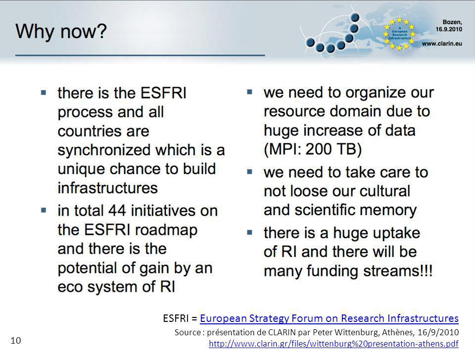 ESFRI = European Strategy Forum on Research InfrastructuresEuropean Strategy Forum on Research Infrastructures Source : présentation de CLARIN par Peter Wittenburg, Athènes, 16/9/2010 http://www.clarin.gr/files/wittenburg%20presentation-athens.pdf 10