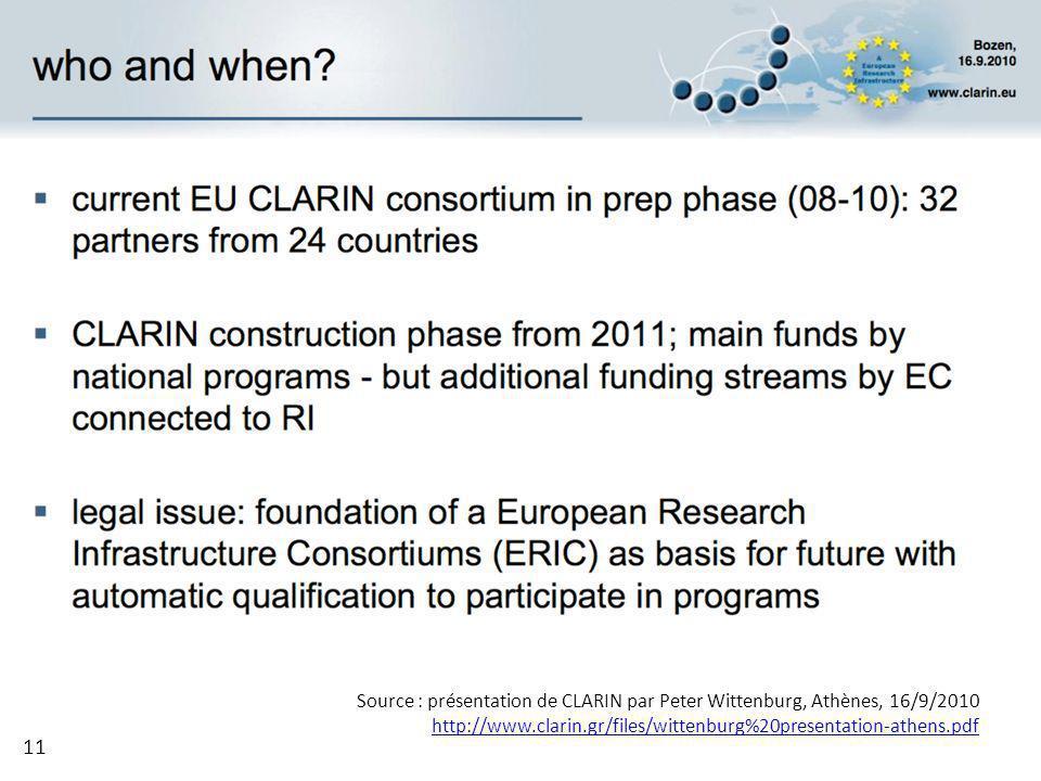 Source : présentation de CLARIN par Peter Wittenburg, Athènes, 16/9/2010 http://www.clarin.gr/files/wittenburg%20presentation-athens.pdf 11
