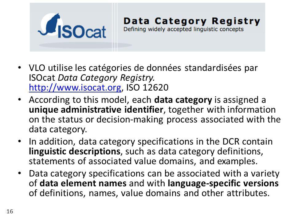VLO utilise les catégories de données standardisées par ISOcat Data Category Registry. http://www.isocat.org, ISO 12620 http://www.isocat.org Accordin