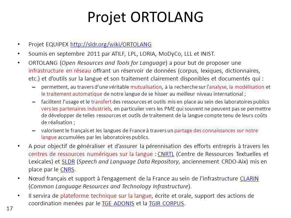 Projet ORTOLANG Projet EQUIPEX http://sldr.org/wiki/ORTOLANGhttp://sldr.org/wiki/ORTOLANG Soumis en septembre 2011 par ATILF, LPL, LORIA, MoDyCo, LLL