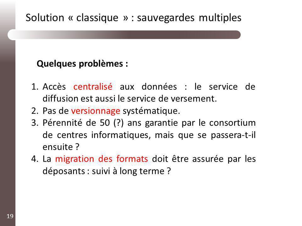 19 1.Accès centralisé aux données : le service de diffusion est aussi le service de versement. 2.Pas de versionnage systématique. 3.Pérennité de 50 (?