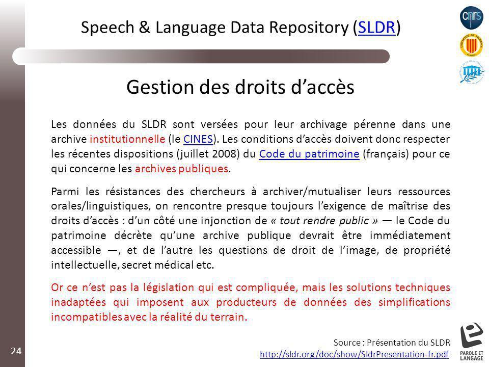 24 Gestion des droits daccès Les données du SLDR sont versées pour leur archivage pérenne dans une archive institutionnelle (le CINES). Les conditions
