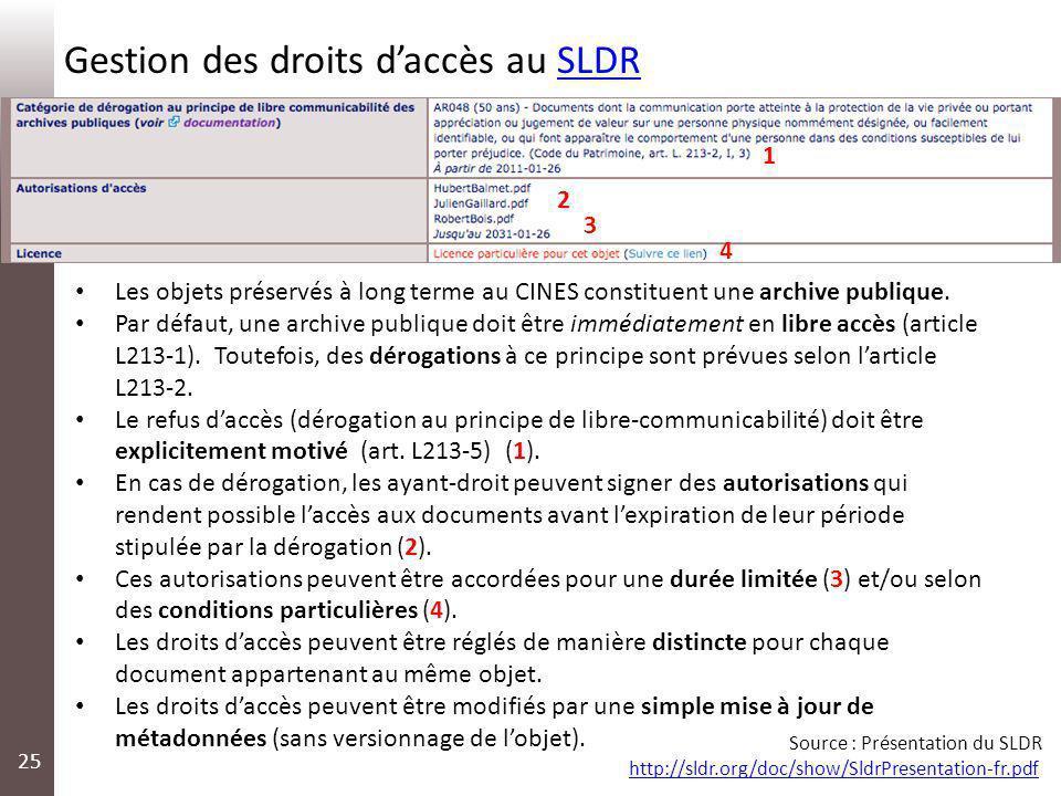 25 Gestion des droits daccès au SLDRSLDR 1 2 3 4 Les objets préservés à long terme au CINES constituent une archive publique. Par défaut, une archive