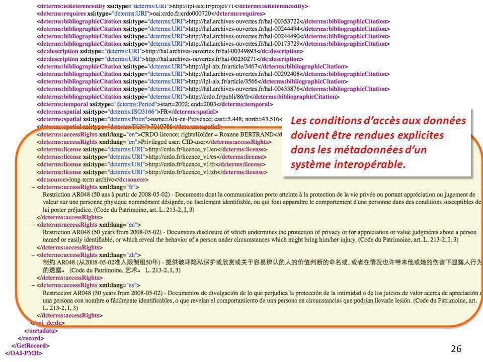 Les conditions daccès aux données doivent être rendues explicites dans les métadonnées dun système interopérable. 26