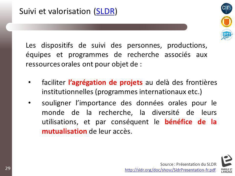 29 faciliter lagrégation de projets au delà des frontières institutionnelles (programmes internationaux etc.) souligner limportance des données orales