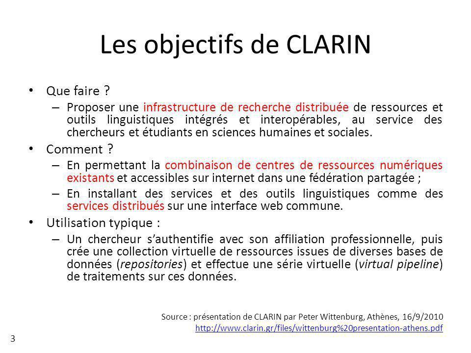 Les objectifs de CLARIN Que faire ? – Proposer une infrastructure de recherche distribuée de ressources et outils linguistiques intégrés et interopéra