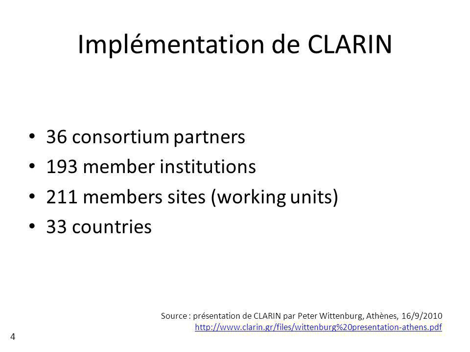 36 consortium partners 193 member institutions 211 members sites (working units) 33 countries Implémentation de CLARIN Source : présentation de CLARIN par Peter Wittenburg, Athènes, 16/9/2010 http://www.clarin.gr/files/wittenburg%20presentation-athens.pdf 4