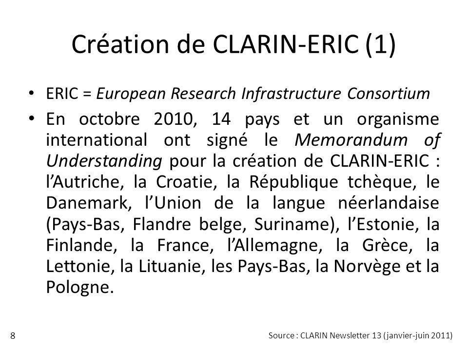 Création de CLARIN-ERIC (1) ERIC = European Research Infrastructure Consortium En octobre 2010, 14 pays et un organisme international ont signé le Mem