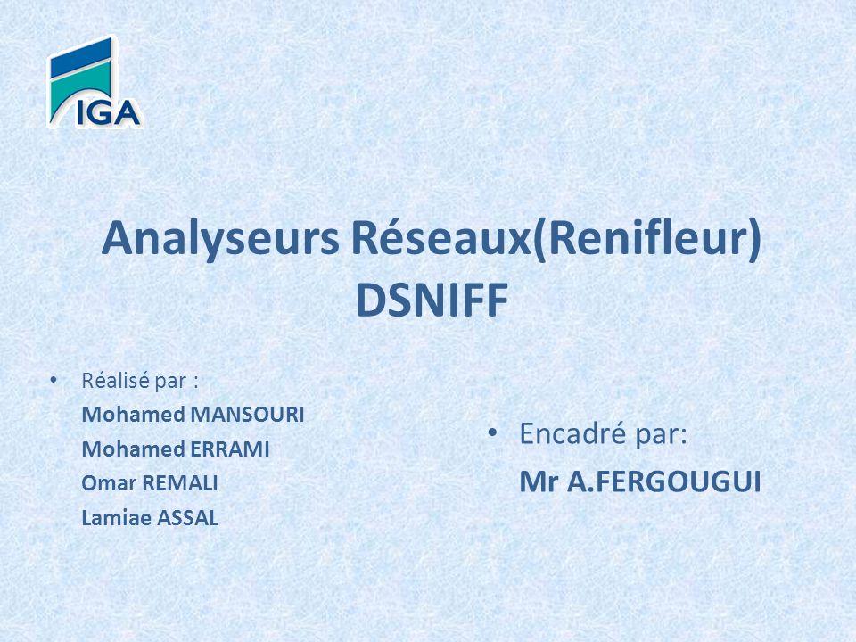 Analyseurs Réseaux(Renifleur) DSNIFF Réalisé par : Mohamed MANSOURI Mohamed ERRAMI Omar REMALI Lamiae ASSAL Encadré par: Mr A.FERGOUGUI