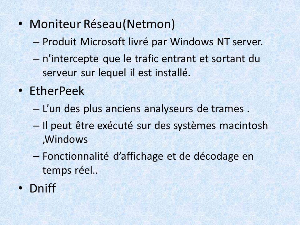 Moniteur Réseau(Netmon) – Produit Microsoft livré par Windows NT server. – nintercepte que le trafic entrant et sortant du serveur sur lequel il est i