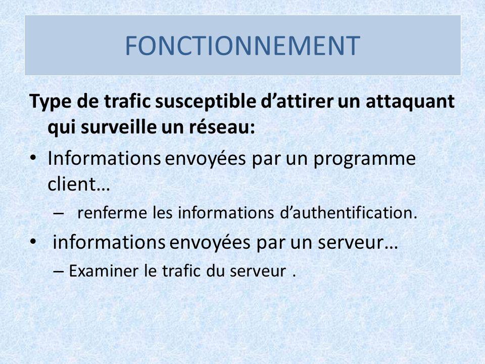 FONCTIONNEMENT Type de trafic susceptible dattirer un attaquant qui surveille un réseau: Informations envoyées par un programme client… – renferme les