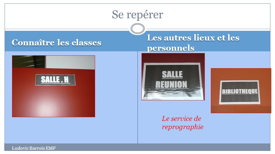 Connaître les classes Les autres lieux et les personnels Ludovic Barrois EMF Se repérer Le service de reprographie
