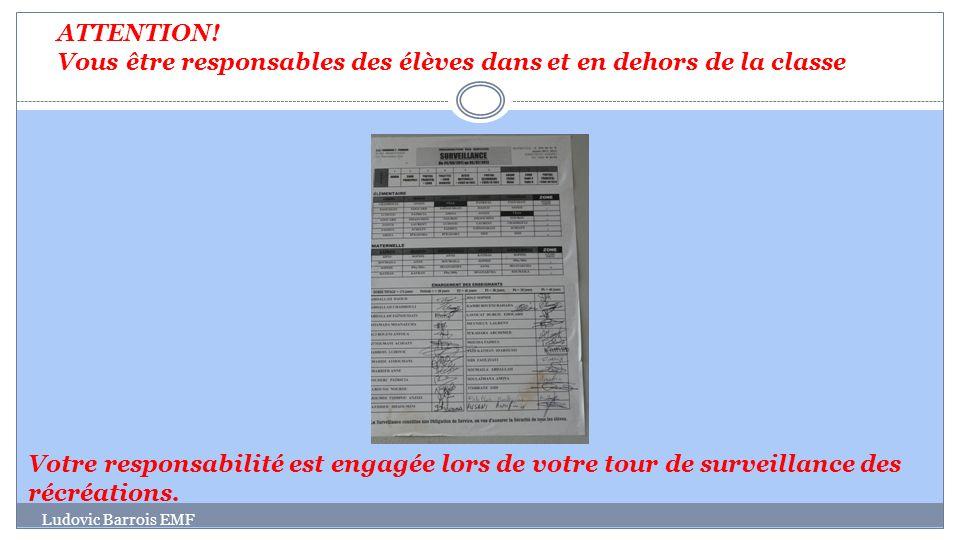 Ludovic Barrois EMF Votre responsabilité est engagée lors de votre tour de surveillance des récréations. ATTENTION! Vous être responsables des élèves