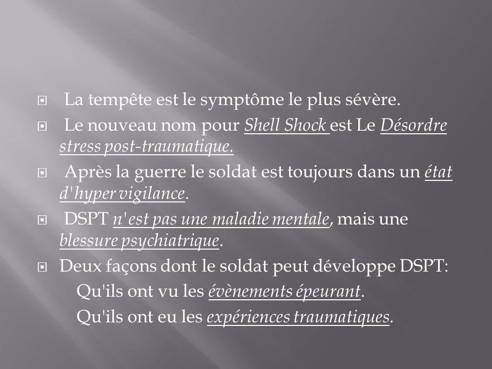 La tempête est le symptôme le plus sévère. Le nouveau nom pour Shell Shock est Le Désordre stress post-traumatique. Après la guerre le soldat est touj