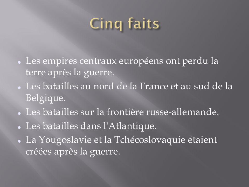 Les empires centraux européens ont perdu la terre après la guerre. Les batailles au nord de la France et au sud de la Belgique. Les batailles sur la f