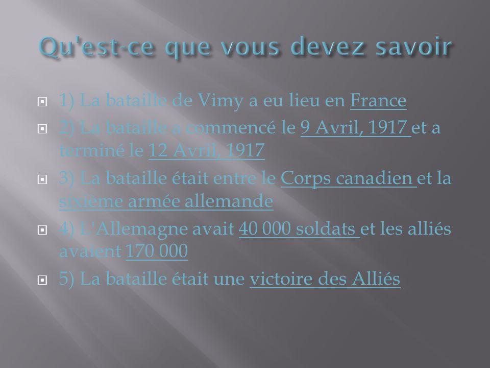 1) La bataille de Vimy a eu lieu en France 2) La bataille a commencé le 9 Avril, 1917 et a terminé le 12 Avril, 1917 3) La bataille était entre le Corps canadien et la sixième armée allemande 4) L Allemagne avait 40 000 soldats et les alliés avaient 170 000 5) La bataille était une victoire des Alliés