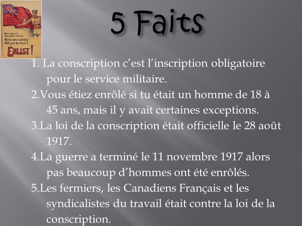 1.La conscription cest linscription obligatoire pour le service militaire.