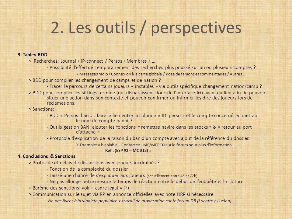 2. Les outils / perspectives 3. Tables BDD > Recherches: Journal / IP-connect / Persos / Membres / … - Possibilité deffectué temporairement des recher