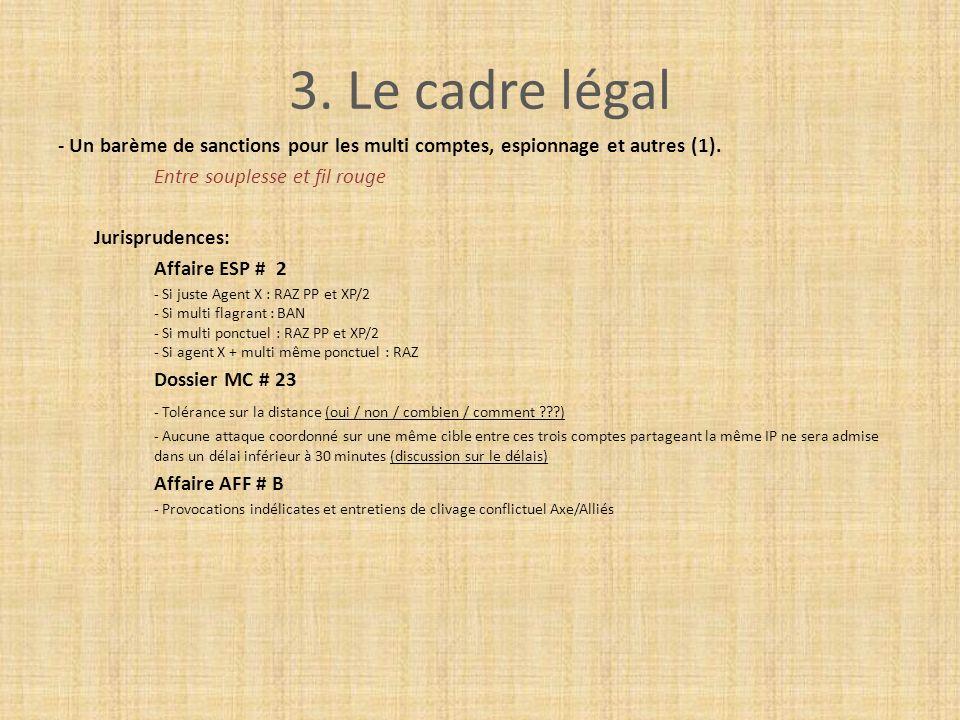 3. Le cadre légal - Un barème de sanctions pour les multi comptes, espionnage et autres (1). Entre souplesse et fil rouge Jurisprudences: Affaire ESP