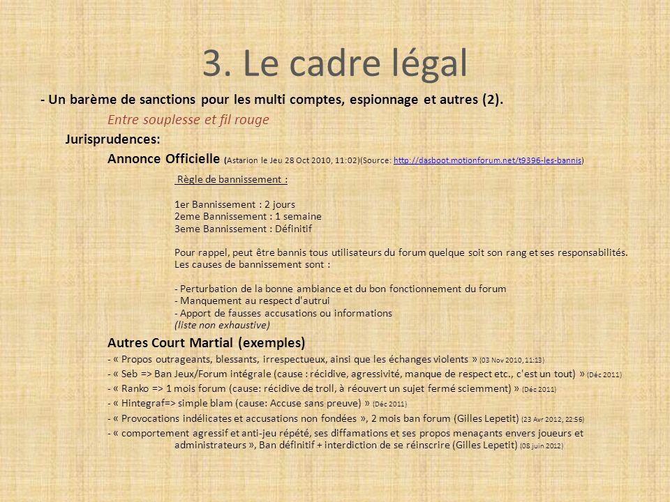 3. Le cadre légal - Un barème de sanctions pour les multi comptes, espionnage et autres (2). Entre souplesse et fil rouge Jurisprudences: Annonce Offi