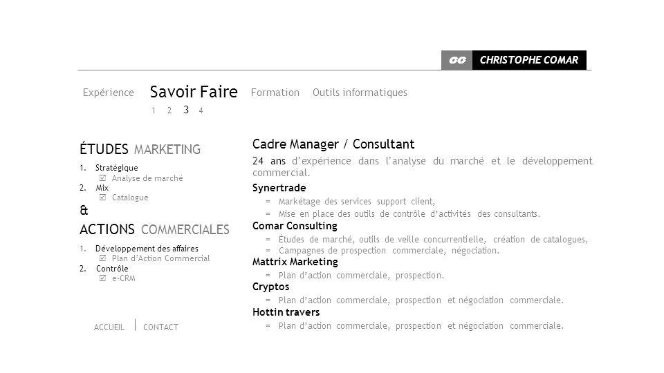 Expérience Savoir Faire Outils informatiquesFormation Cadre Manager / Consultant 24 ans dexpérience dans lanalyse du marché et le développement commercial.