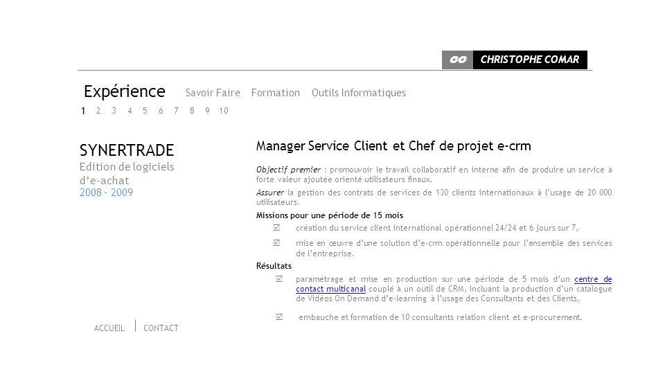 Expérience Savoir Faire Outils informatiquesFormation Chef de Projet / Pilote de projet 15 années dexpérience dans la gestion de projet.