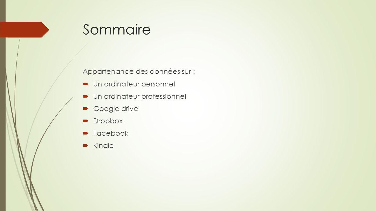 Sommaire Appartenance des données sur : Un ordinateur personnel Un ordinateur professionnel Google drive Dropbox Facebook Kindle