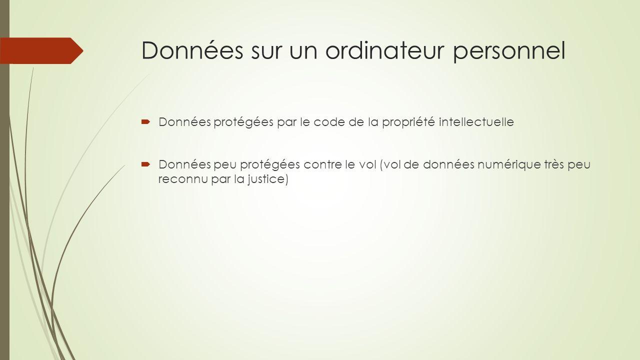 Données sur un ordinateur personnel Données protégées par le code de la propriété intellectuelle Données peu protégées contre le vol (vol de données n