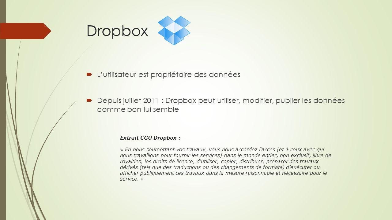 Dropbox Lutilisateur est propriétaire des données Depuis juillet 2011 : Dropbox peut utiliser, modifier, publier les données comme bon lui semble Extr
