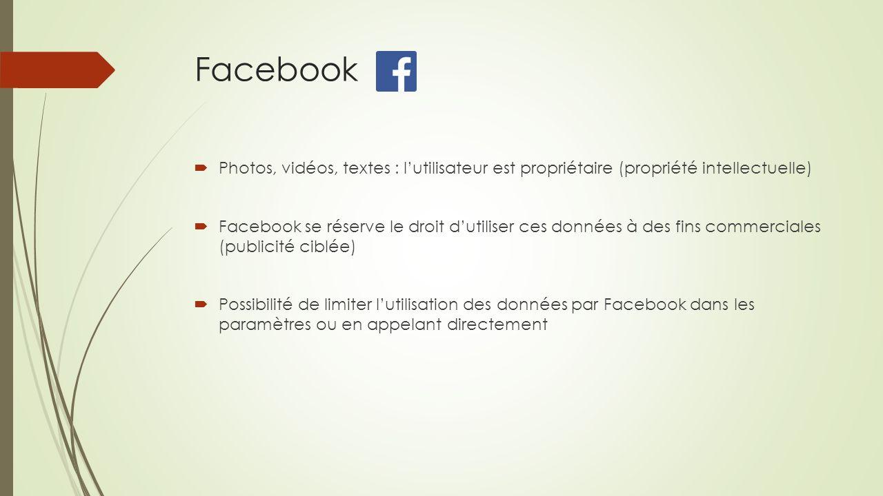 Facebook Photos, vidéos, textes : lutilisateur est propriétaire (propriété intellectuelle) Facebook se réserve le droit dutiliser ces données à des fi