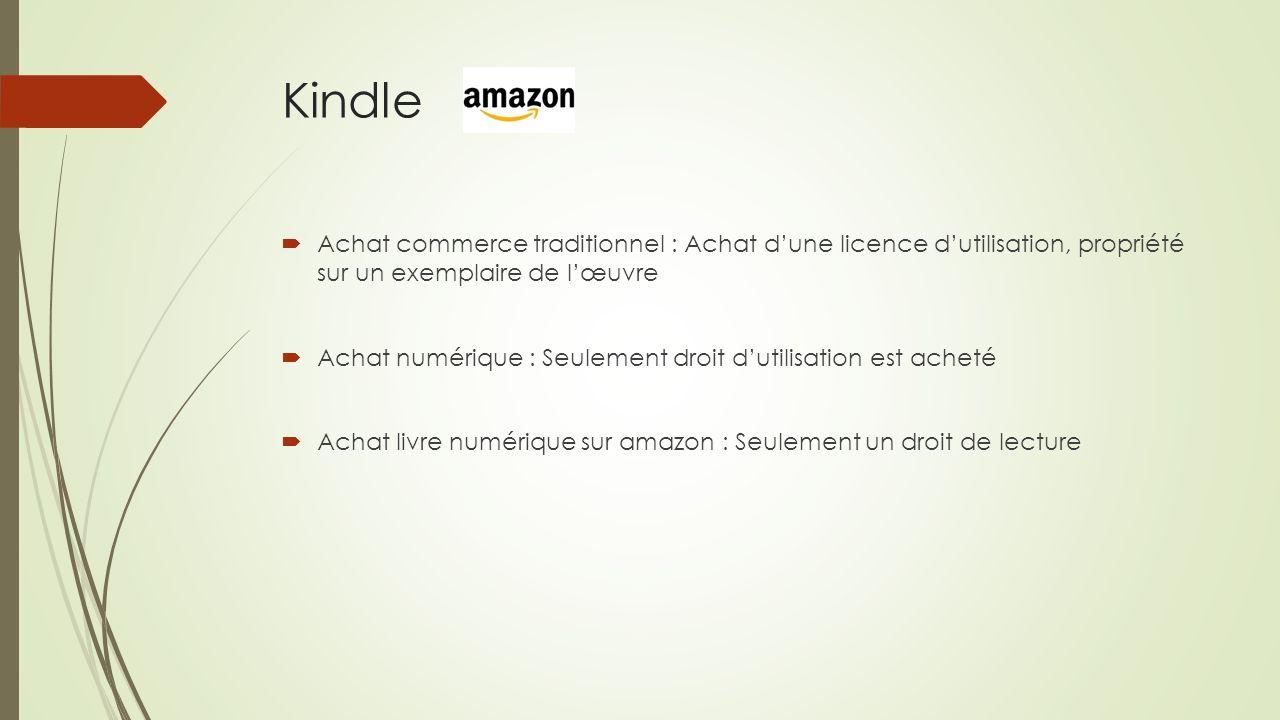 Kindle Achat commerce traditionnel : Achat dune licence dutilisation, propriété sur un exemplaire de lœuvre Achat numérique : Seulement droit dutilisa