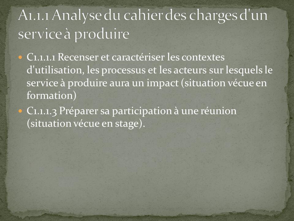 C1.1.1.1 Recenser et caractériser les contextes d'utilisation, les processus et les acteurs sur lesquels le service à produire aura un impact (situati