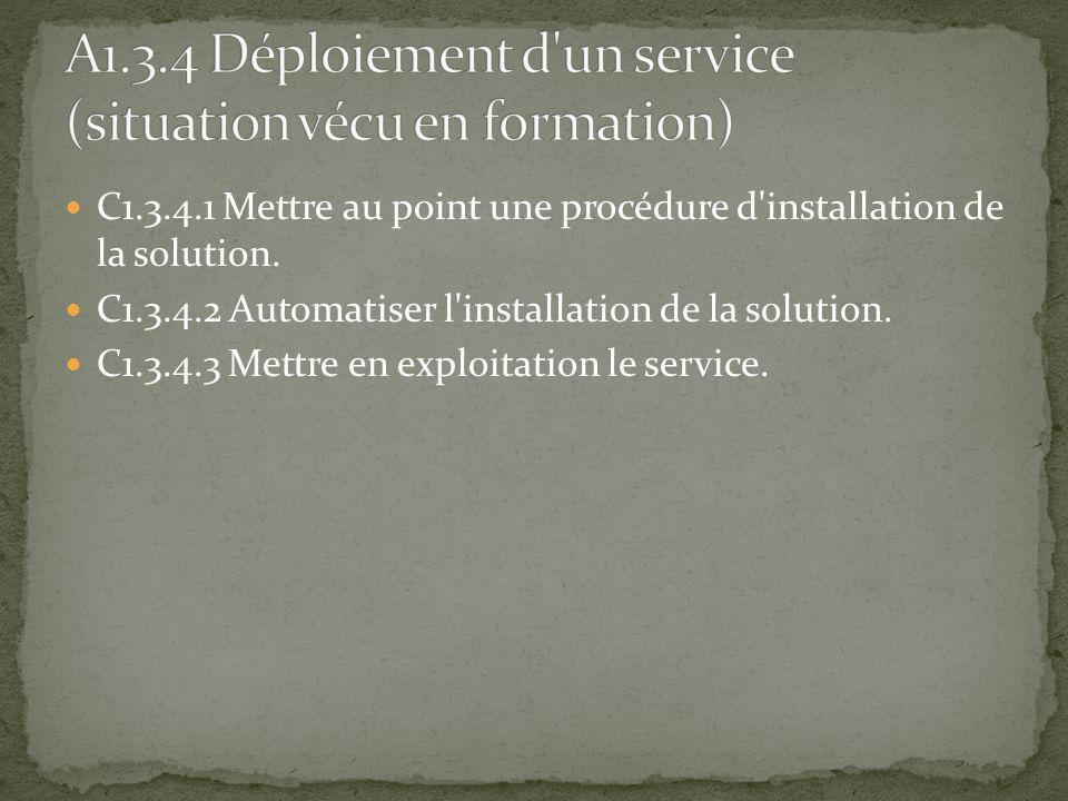 C1.3.4.1 Mettre au point une procédure d'installation de la solution. C1.3.4.2 Automatiser l'installation de la solution. C1.3.4.3 Mettre en exploitat
