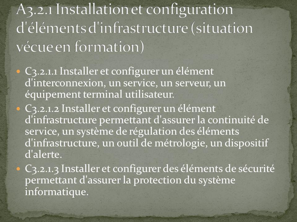 C3.2.1.1 Installer et configurer un élément d'interconnexion, un service, un serveur, un équipement terminal utilisateur. C3.2.1.2 Installer et config