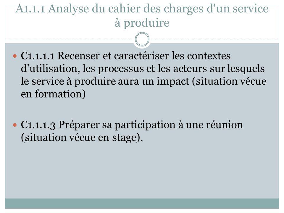 A1.1.1 Analyse du cahier des charges d'un service à produire C1.1.1.1 Recenser et caractériser les contextes d'utilisation, les processus et les acteu