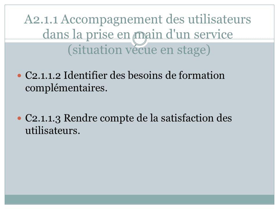 A2.1.1 Accompagnement des utilisateurs dans la prise en main d'un service (situation vécue en stage) C2.1.1.2 Identifier des besoins de formation comp