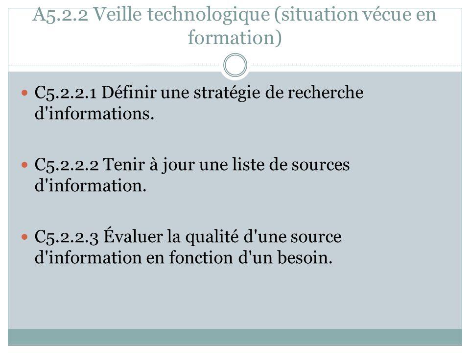 A5.2.2 Veille technologique (situation vécue en formation) C5.2.2.1 Définir une stratégie de recherche d'informations. C5.2.2.2 Tenir à jour une liste