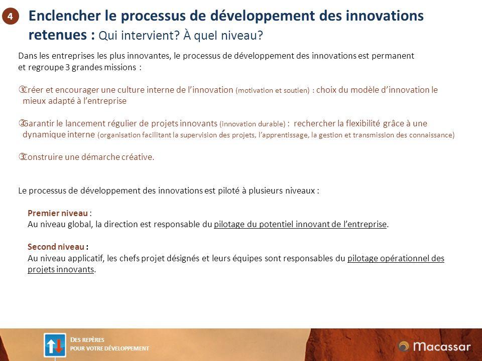 D ES REPÈRES POUR VOTRE DÉVELOPPEMENT Enclencher le processus de développement des innovations retenues : Qui intervient.