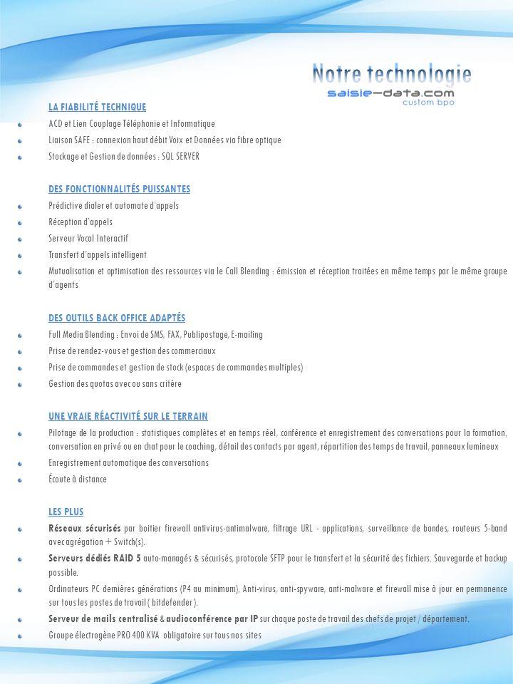 LA FIABILITÉ TECHNIQUE ACD et Lien Couplage Téléphonie et Informatique Liaison SAFE : connexion haut débit Voix et Données via fibre optique Stockage