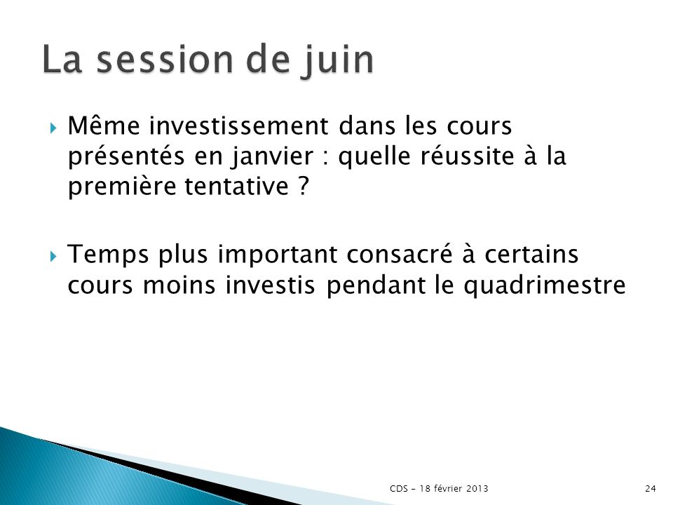 Même investissement dans les cours présentés en janvier : quelle réussite à la première tentative .