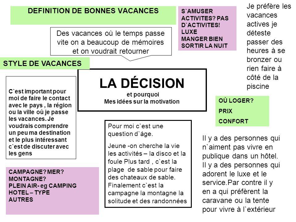 LA DÉCISION et pourquoi Mes idées sur la motivation DEFINITION DE BONNES VACANCES S`AMUSER ACTIVITES? PAS D`ACTIVITES! LUXE MANGER BIEN SORTIR LA NUIT